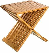 Taburete plegable de bambú para baño
