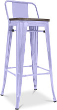 Taburete Tolix con respaldo pequeño en madera