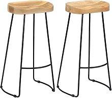 Taburetes de cocina gavin 2 unidades madera maciza