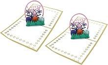 Tarjetas de felicitación 3D para Pascua, huevos