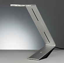 TECNOLUMEN Flad - lámpara de mesa LED, gris plata