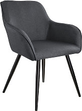 Tectake - Silla Marilyn efecto lino negro - gris