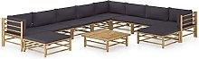Tidyard Set de Muebles de Jardín 11 Piezas Bambú