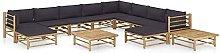 Tidyard Set de Muebles de Jardín 12 Piezas Bambú