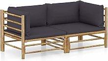 Tidyard Set de Muebles de Jardín 2 Piezas Bambú