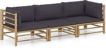 Tidyard Set de Muebles de Jardín 3 Piezas Bambú