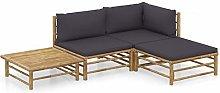 Tidyard Set de Muebles de Jardín 4 Piezas Bambú