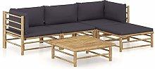 Tidyard Set de Muebles de Jardín 5 Piezas Bambú