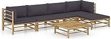 Tidyard Set de Muebles de Jardín 6 Piezas Bambú