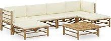 Tidyard Set de Muebles de Jardín 7 Piezas Bambú