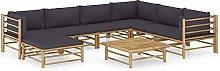 Tidyard Set de Muebles de Jardín 8 Piezas Bambú
