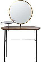 Tocador con espejo de imitación nogal y metal
