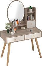 Tocador con espejo DivaBlanco y madera