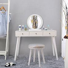 Tocador con taburete mesa de maquillaje con espejo