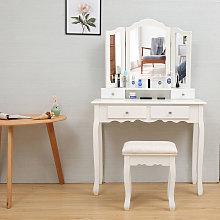 Tocador de mesa blanco de estilo rústico con