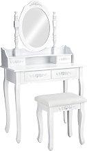 Tocador estilo clásico con espejo y taburete -
