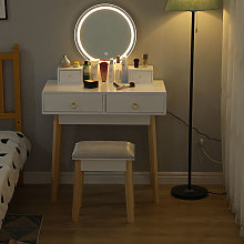 Tocador LED,Mesa De Maquillaje Con Cajones,Juego