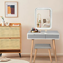 Tocador y espejo Mesa de maquillaje con taburete