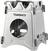 TOMSHOO - Estufa de lena para acampar, portatil,