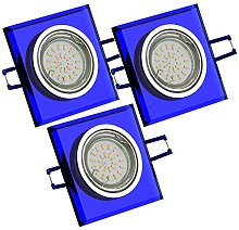 Trango Foco LED empotrable de cristal azul pulido