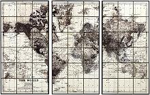 Tríptico de mapamundi de cerámica negra 189x125