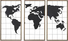 Tríptico de mapamundi de metal negro y abeto