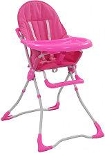 Trona de bebé rosa y blanco Vida XL