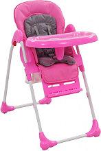 Trona de bebé rosa y gris Vida XL