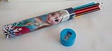 Tubo Metal con 12 LAPICES Colores Y SACAPUNTAS