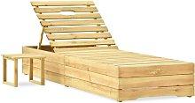 Tumbona con mesa de madera de pino impregnada