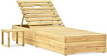 Tumbona con mesa de madera de pino impregnada verde