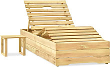 Tumbona con mesa madera de madera de pino
