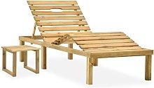 Tumbona de jardín con mesa de madera de pino