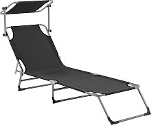 Tumbona de jardín reclinable negra FOLIGNO