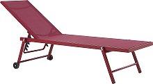 Tumbona de jardín reclinable roja PORTOFINO