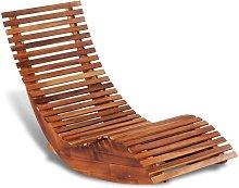 Tumbona mecedora de madera de acacia - Hommoo