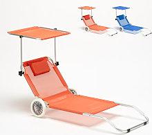 Tumbona playa aluminio ruedas hamaca silla toldo