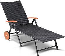 Tumbona plegable de Poliratán negro reclinable