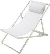 Tumbona/silla de playa plegable de metal blanca