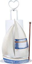 Un barco de vela del papel sostenedor de la toalla