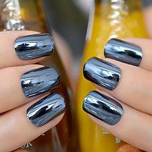 Uñas postizas Espejo reflectante azul gris metal