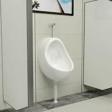 Urinario de pared con válvula de descarga