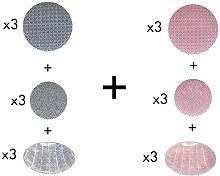 Vajilla (18 piezas) LAZO - Loza - Azul y rosa
