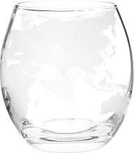 Vaso de vidrio con estampado de mapamundi blanco
