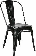 Vaukura Silla Industrial Metálica Vintage Negra -
