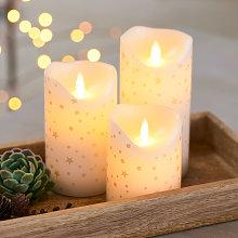 Vela LED Sara, set de 3, blanco/oro romántico