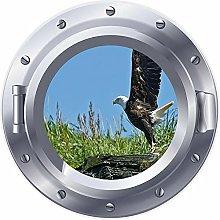 Ventana de ojo de buey 3D águila calva pegatina