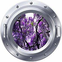 Ventana de ojo de buey 3D, pegatina de árbol de