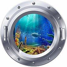 Ventana de ojo de buey 3D, pez de arrecife de