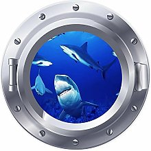 Ventana de ojo de buey 3D tiburones gran mar